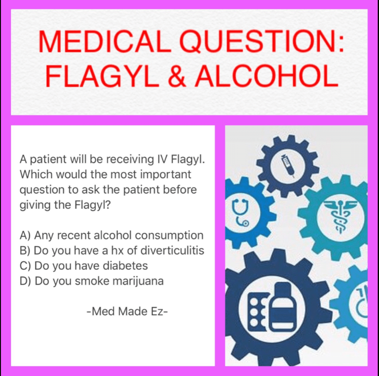 Nursing Question: Flagyl & Alcohol - Med Made Ez (MME) in ...