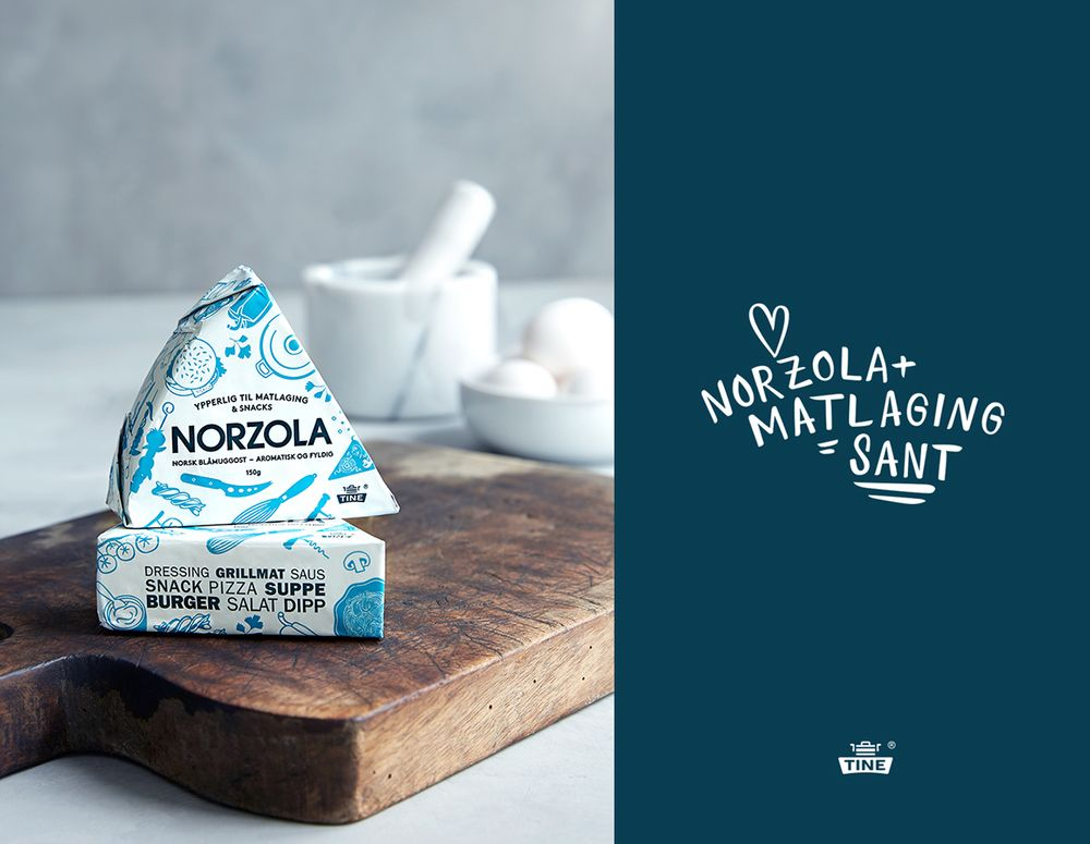 Dressings, pizzas, burgers, snacks, and salads—blue cheese is incredibly  versatile. Oslo agency Dinamo Design developed new illustrations packaging  for the beloved classic in order to make it the primary choice for cheese  lovers.