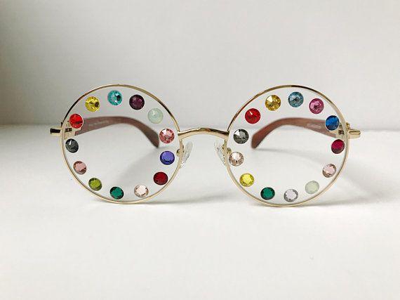 Festival Eyeglasses Frames Multi Colored Rhinestones Clear | EYEcu ...