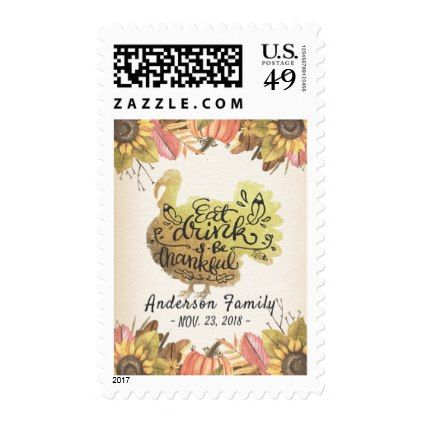 autumn maple gold turkey thanksgiving dinner party postage sunflowers sunflower gifts floral flowers cyo gift