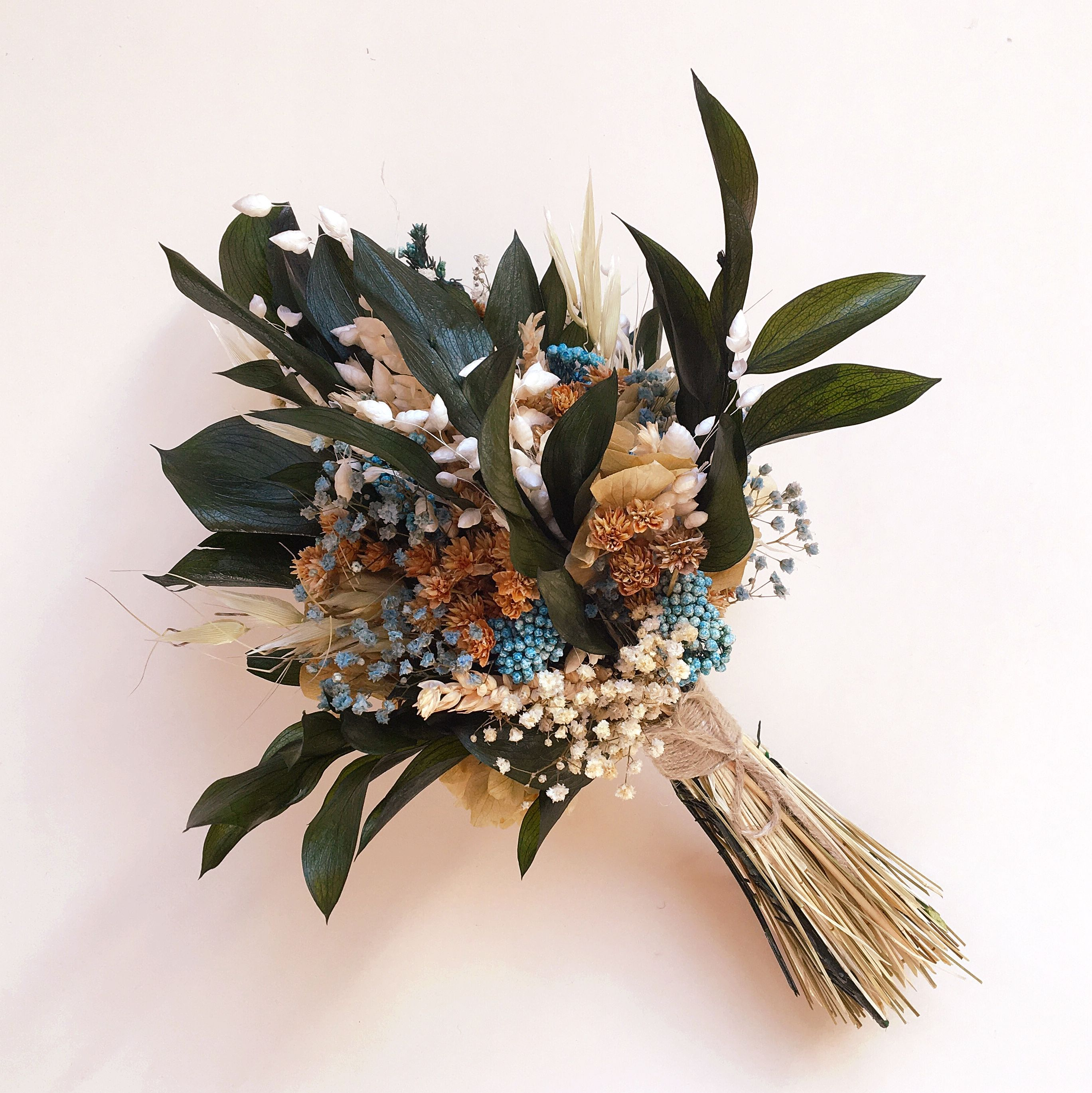 Small rustic wedding bouquet made of preserved Eucaliptus and wild ...