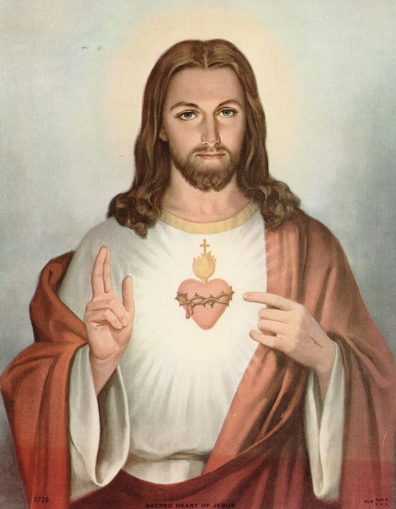 "8 1/4"" x 10 1/2"" Vintage Catholic Print Picture SACRED HEART OF JESUS"
