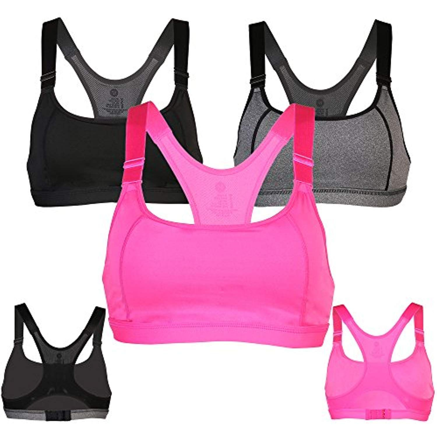 86847b04f77d9 BRAUFACTUM Women s Wirefree Lightly Lined Racerback High Impact Full Figure Support  Sports Bra