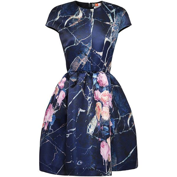 MSGM Cap Sleeve Printed Duchess Satin Dress ($950) ❤ liked on Polyvore featuring dresses, blue a line dress, full a line skirt, shirred dress, ruching dress and cap sleeve dress