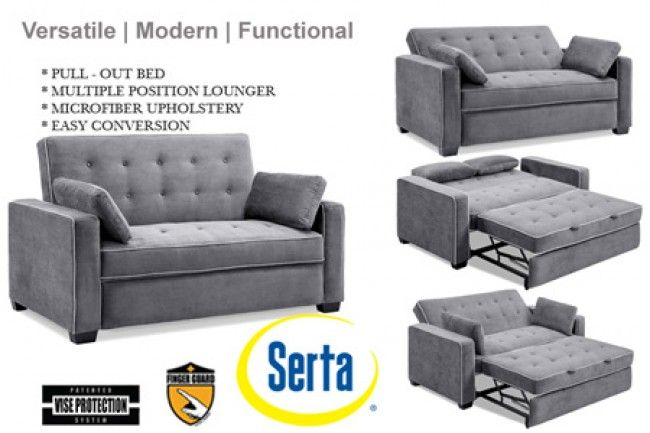 Grey Augustine Serta Dream Rise Sleeper Lounger Sofa Bed Modern Sofa Bed Convertible Sofa Bed Sofa Bed Sleeper