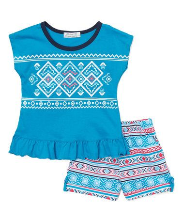 Another great find on #zulily! Turquoise Geometric Ruffle-Hem Tee