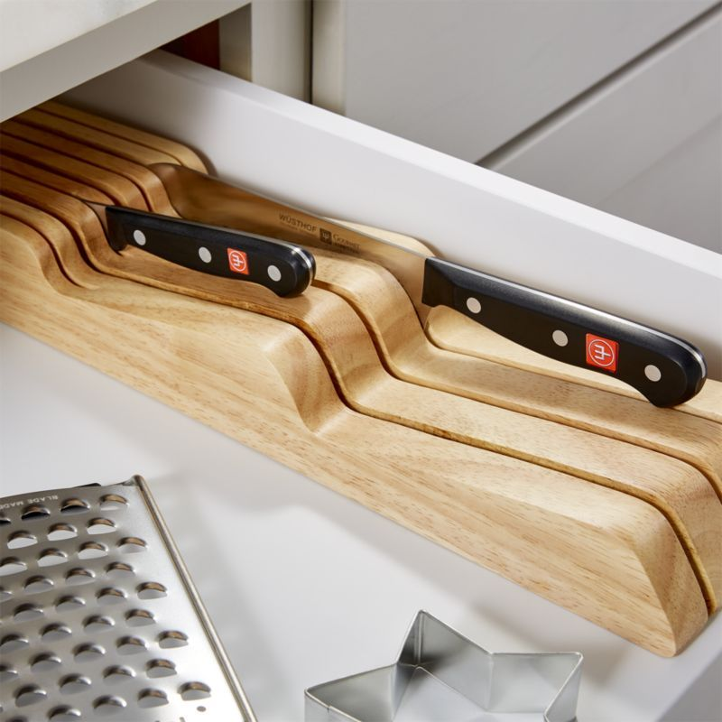 Wusthof In Drawer Knife Block 7 Slot Reviews Crate And Barrel Knife Storage Kitchen Knife Storage Knife Set Kitchen