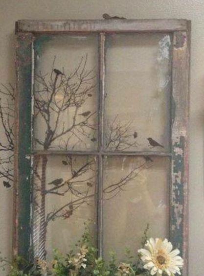 Beautiful Job Decorating An Old Distressed Window Frame Window Crafts Old Window Crafts Old Window Decor