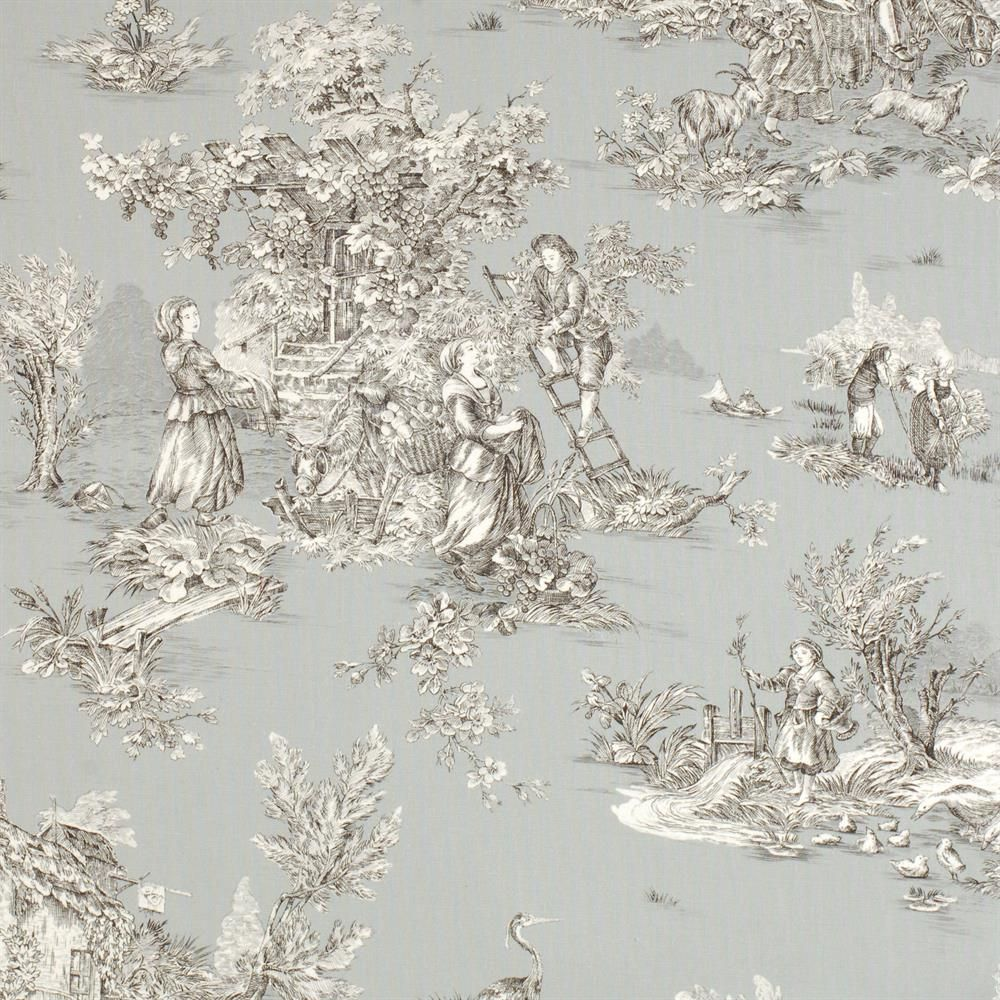 pastoral toile de jouy fabric in grey toile de jouy pinterest toile de jouy toiles et. Black Bedroom Furniture Sets. Home Design Ideas