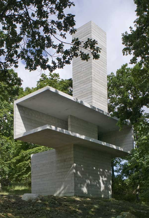 Kivik Pavilion by David Chipperfield Architects and artist Antony Gormley    Formed of three interlocked volumes, 'The Cave', 'The Stage' and 'The Tower', the pavilion offers three different ways of experiencing nature and landscapes.