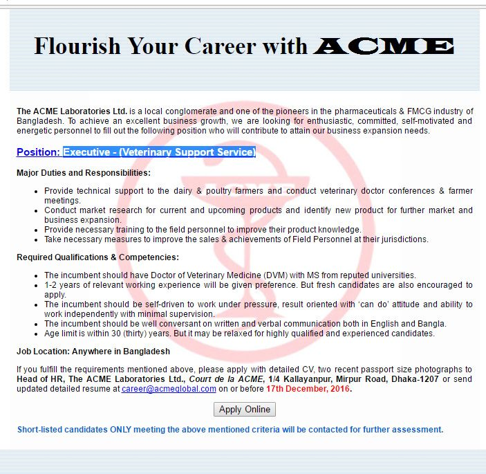 The Acme Laboratories Ltd Executive Job Circular  Vacancy  Job