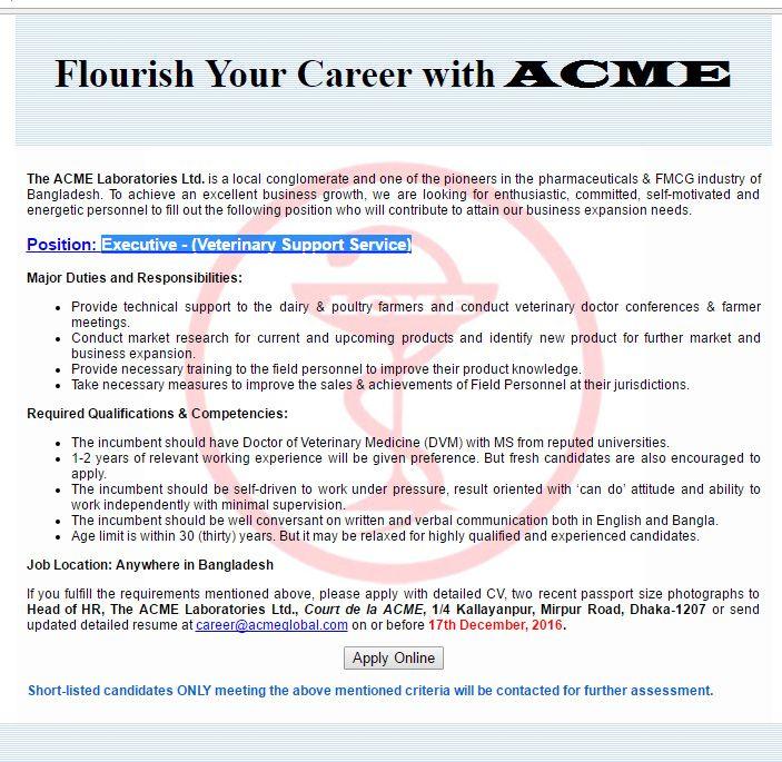 The Acme Laboratories Ltd Executive Job Circular Vacancy Job Circular Executive Jobs Job