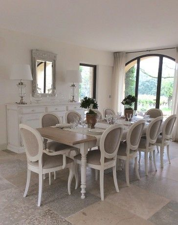 Table Blanche Bois Massif Provencal Salle A Manger Bois Salle A Manger Campagne Table Salle A Manger