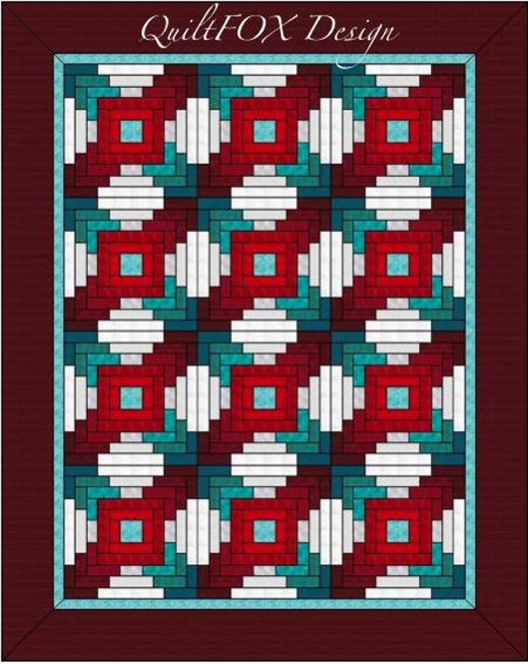 Teal-Bordeaux String Quilt - Twin Size | Craftsy