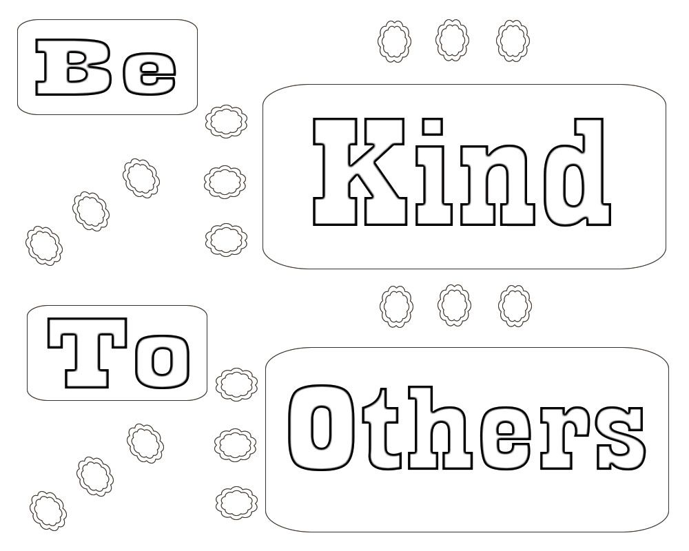 Be kind to others coloring page