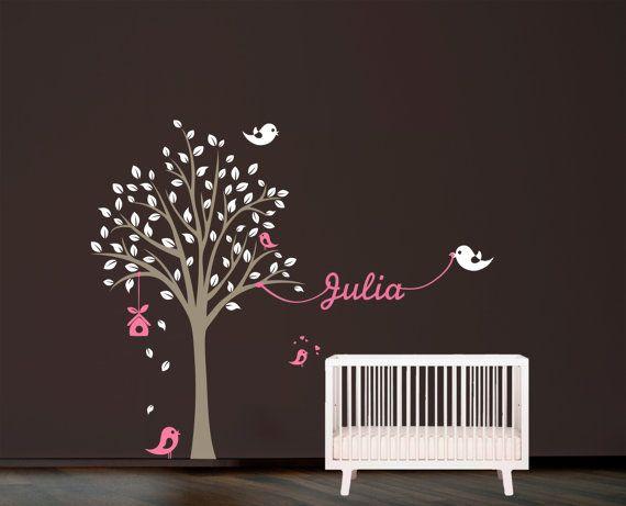 Plantilla de pared. Árbol con pájaros y nombre de la plantilla de ...