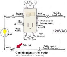how to wire switches combination switch outlet light fixture turn rh pinterest com A Light Switch and Outlet Combination Wiring Light Switch Outlet Wiring Diagram