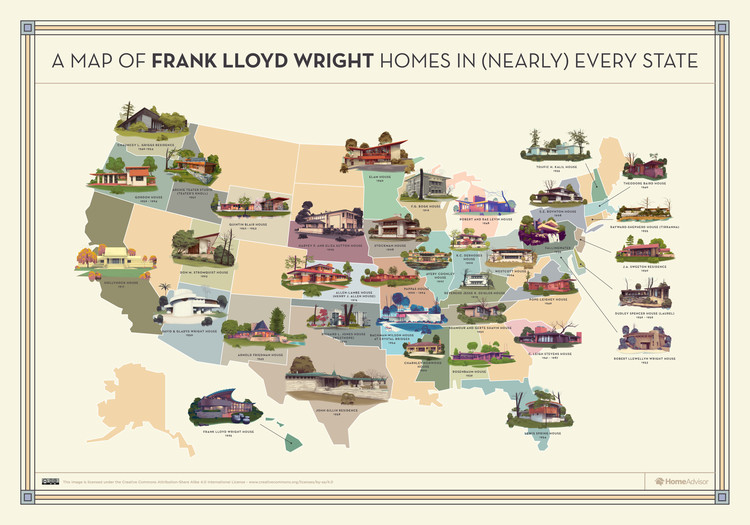 Mapping Frank Lloyd Wright S Creations Throughout The United States Frank Lloyd Wright Homes Frank Lloyd Wright Frank Lloyd Wright Buildings