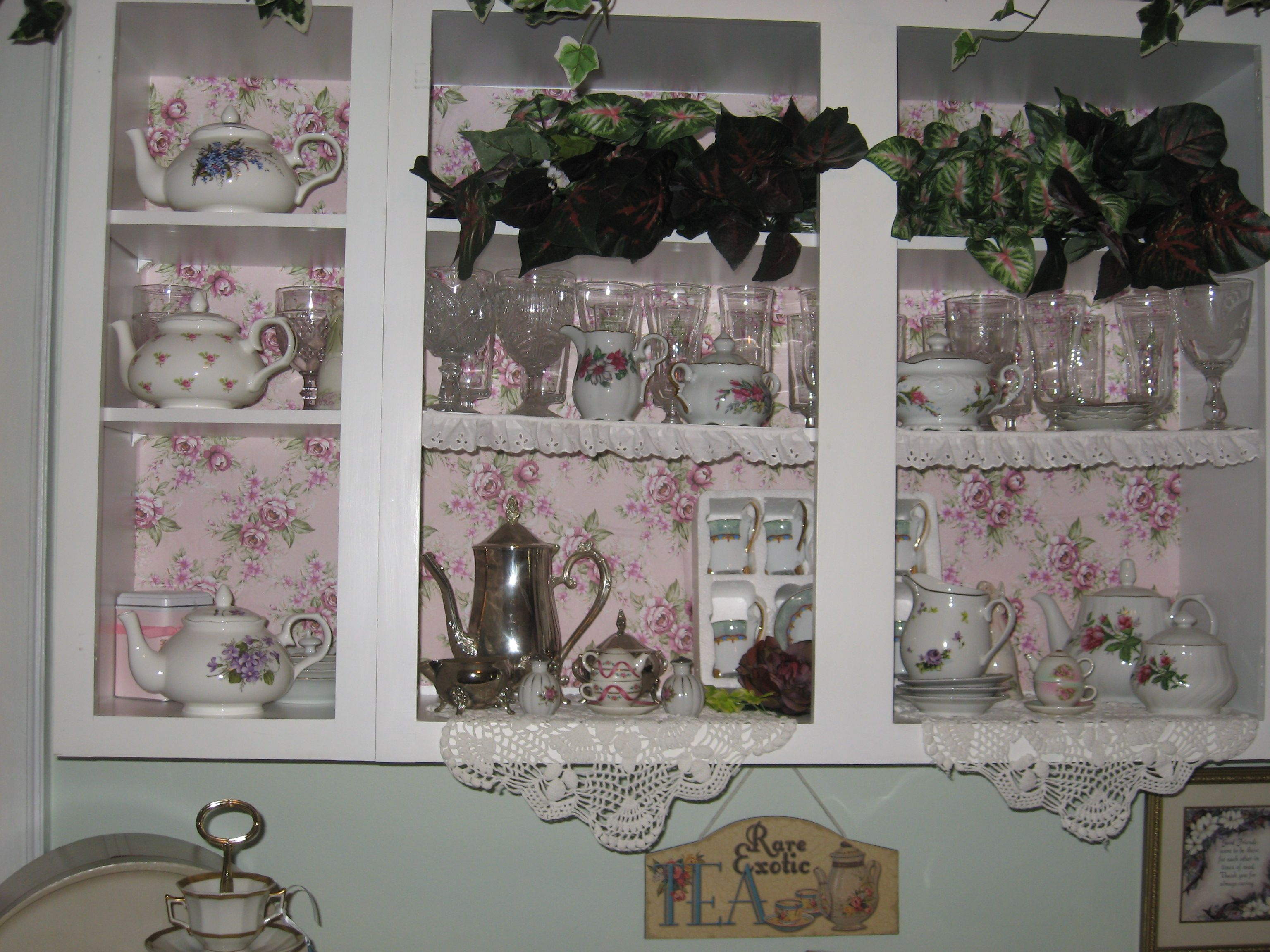 The pretty pink and white cabinet in the Tea Room...