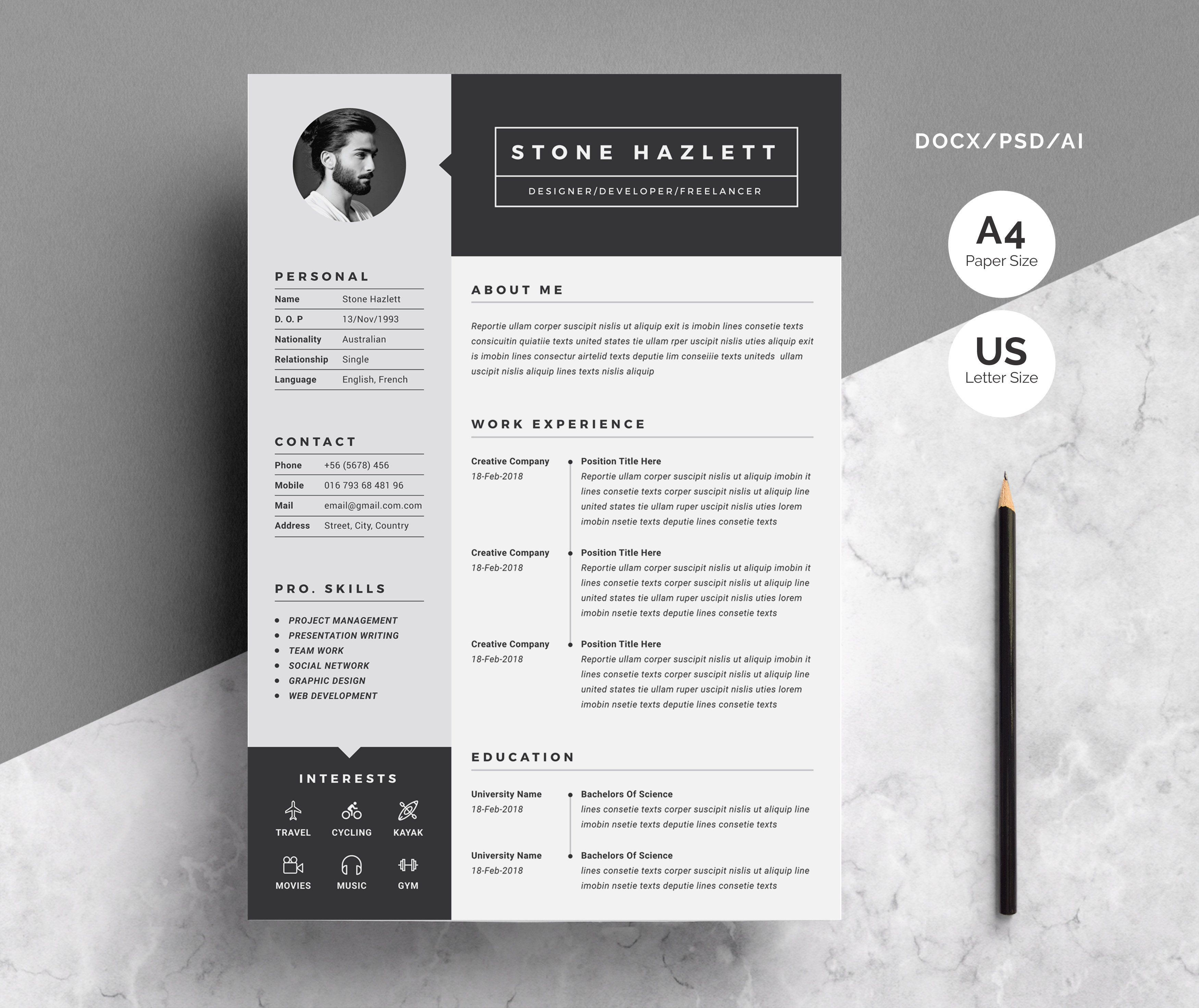 Resume Cv Template 2 Pages Cv Template Graphic Design Resume