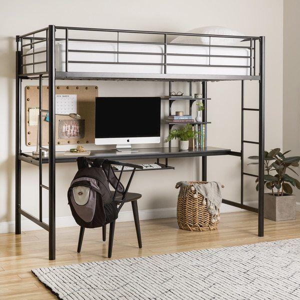 Best Walker Edison Black Metal Twin Workstation Bunk Bed Bed 640 x 480