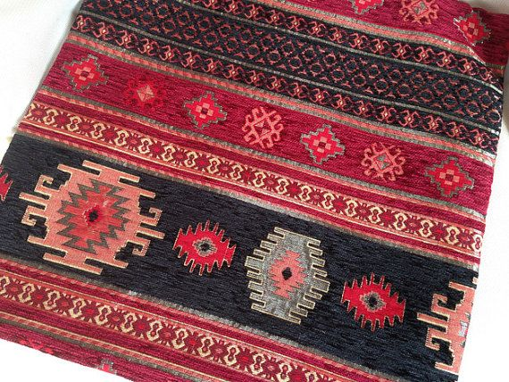 Chenille Traditional Tribal Style Upholstery Fabric Flower