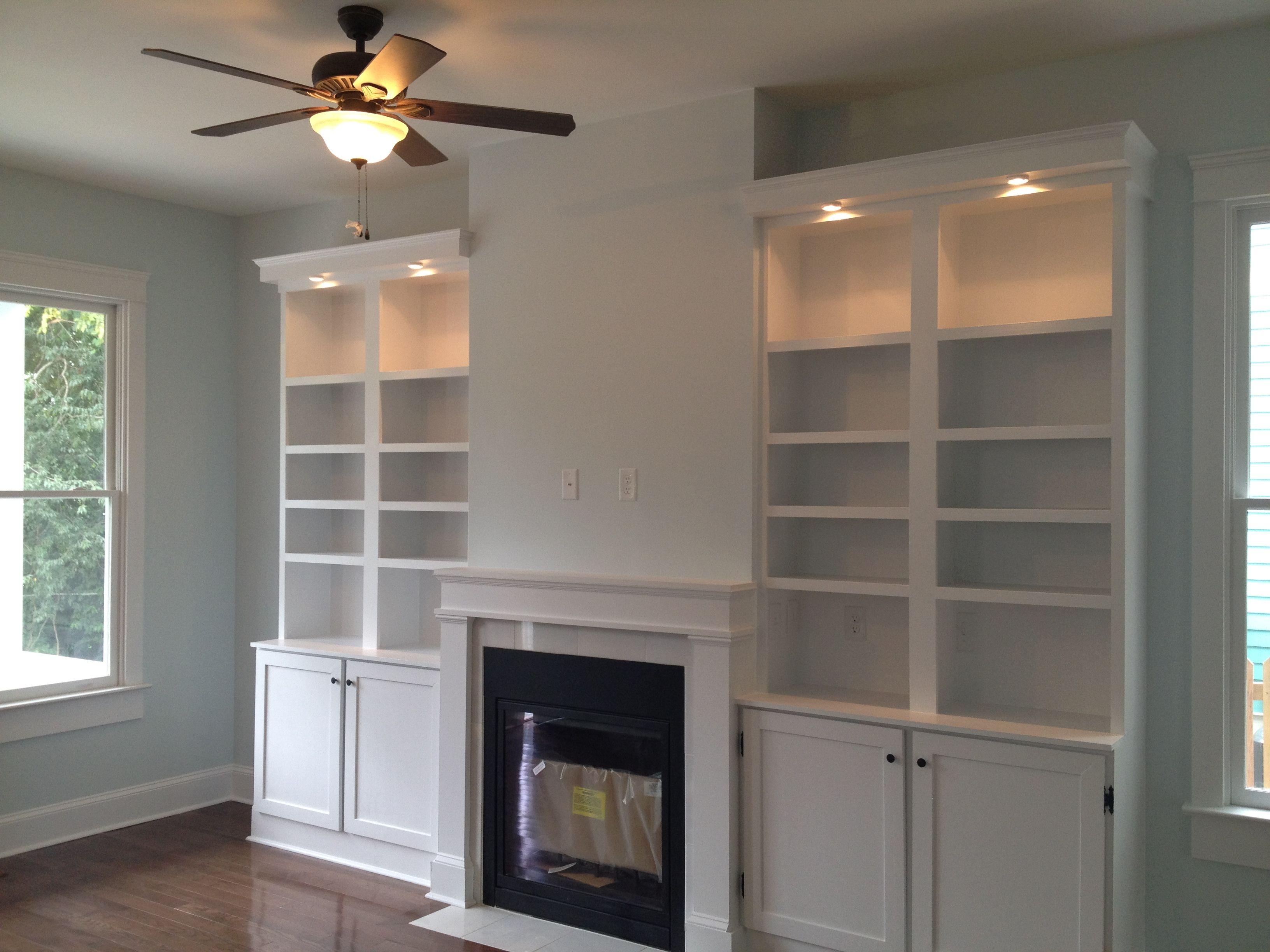 Fireplace With Solid Wood Built Ins Adjustable Shelves Cabinet Doors And Lighting Fireplace Shelves Shelves In Bedroom Living Room Update