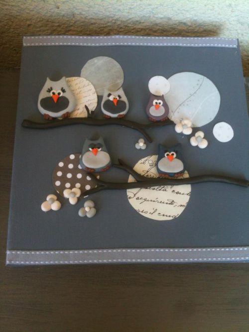 tableau hibou le hibou polymer clay animals fimo et polymer clay. Black Bedroom Furniture Sets. Home Design Ideas