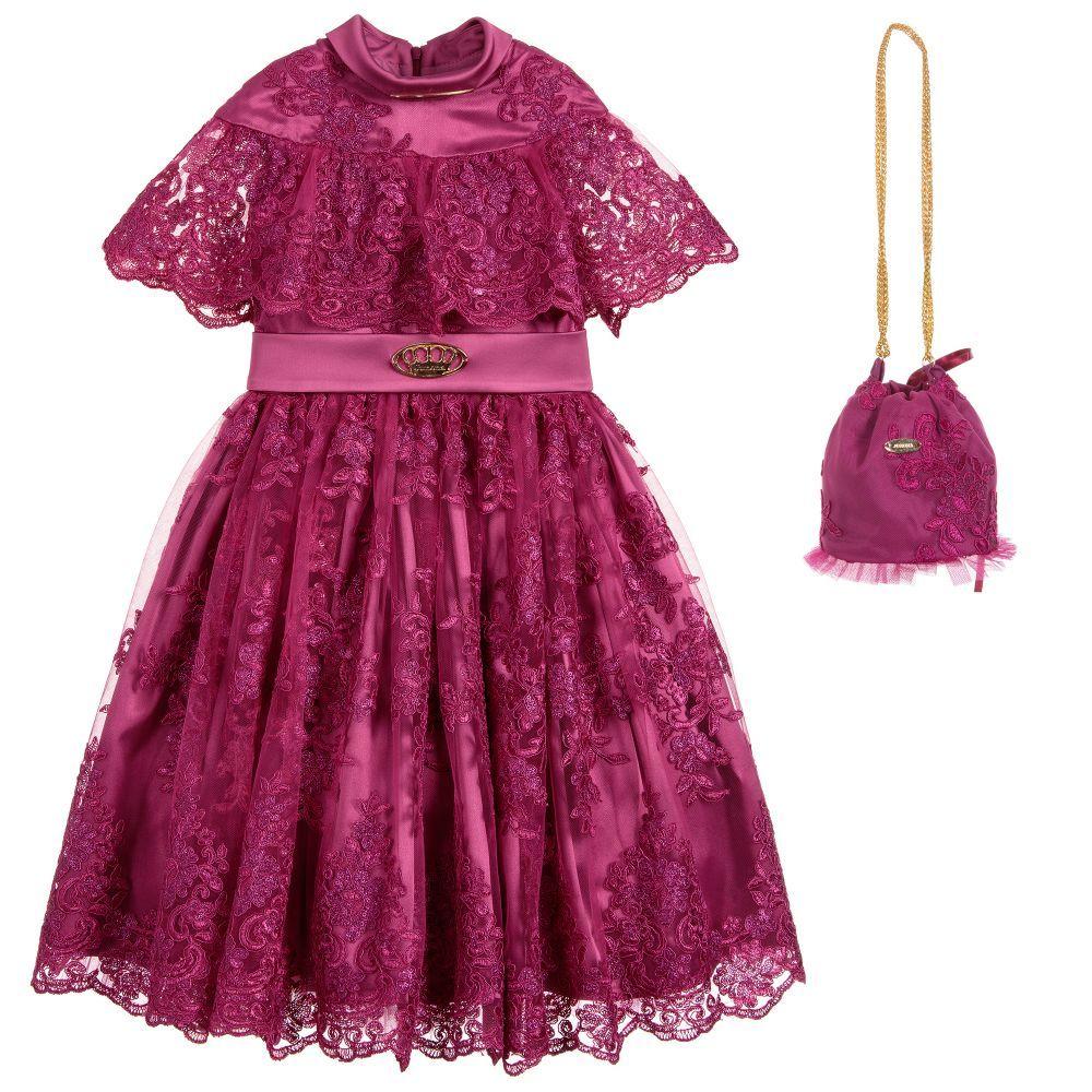 866374e62 Girls Fuchsia Pink Lace Dress