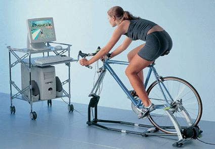 TACX's Fortius training bike, which takes you on a virtual training course via your PC as you pedal away.