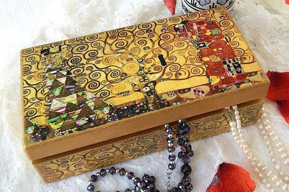 Gustav Klimt The Tree of Life Jewelry Box by ArtKaleydoskop2015