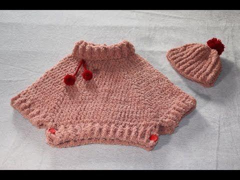 Conjunto poncho y gorro con pompón a crochet. - YouTube | Poncho in ...