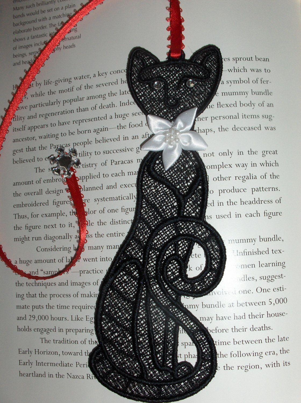 Black cat bookmark by GiGiCuriosities