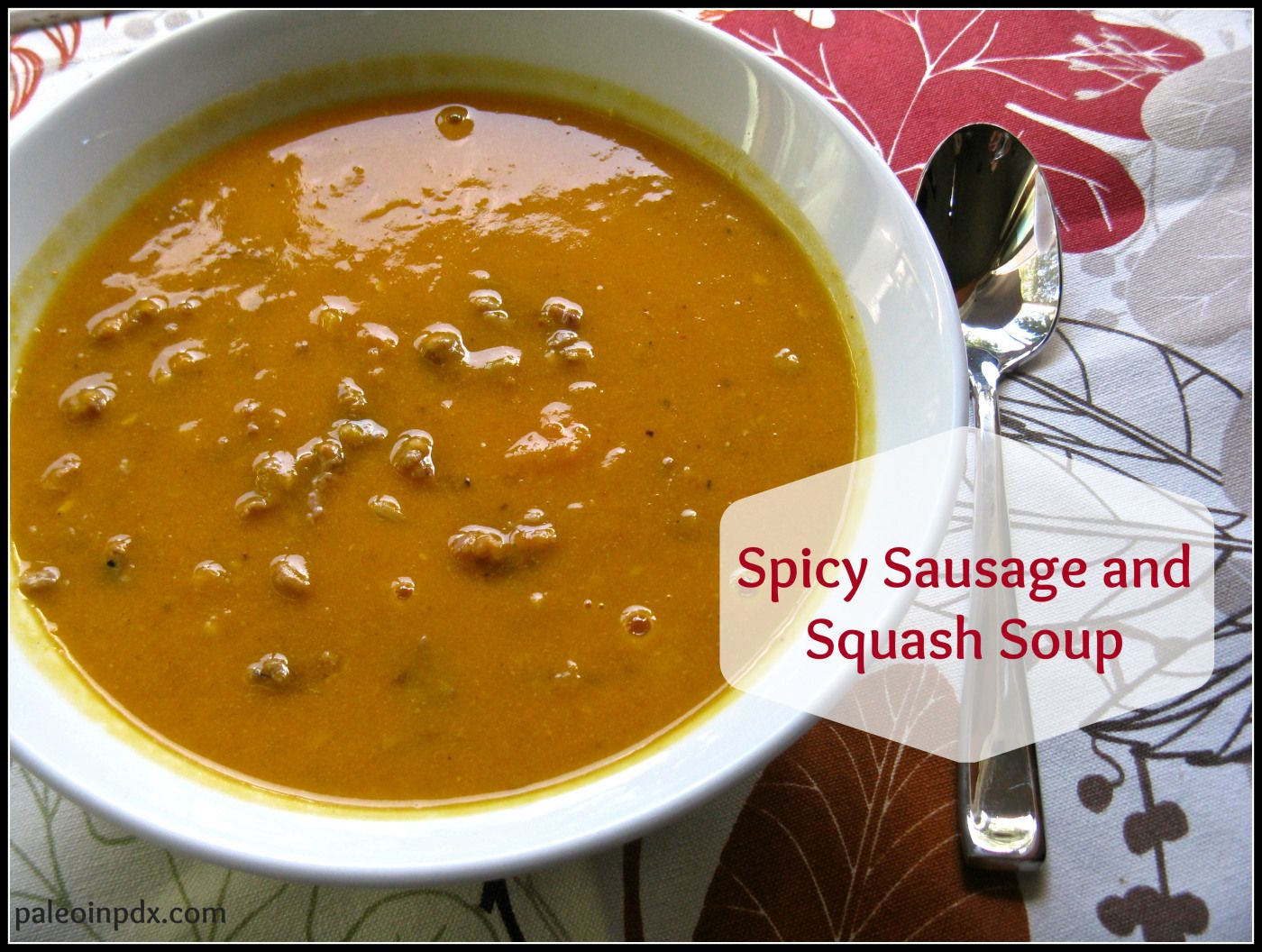 Spicy sausage and squash soup