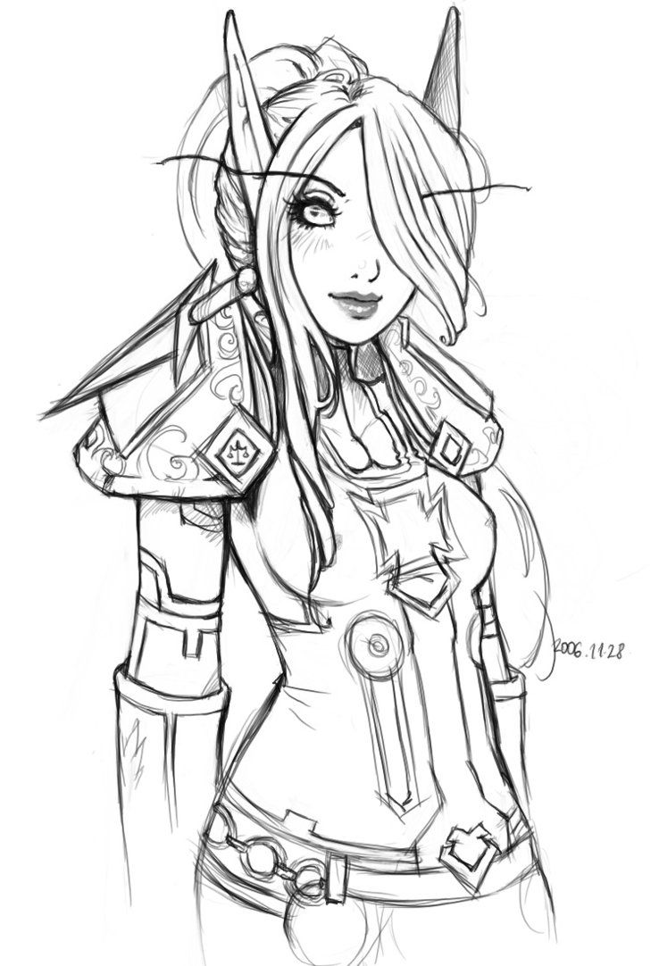 Elf Warrior Coloring Page elves and creatures Pinterest Elf