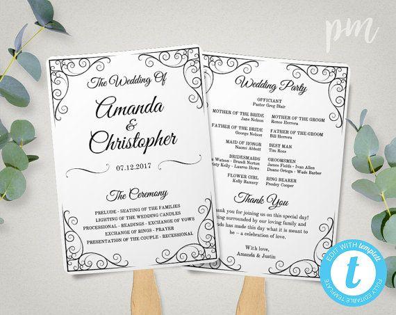 Vintage Wedding Program Fan Template Fan Wedding Program  Wedding