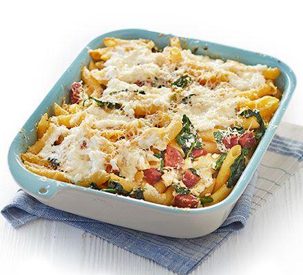 Chorizo ricotta spinach pasta bake recipe pinterest ricotta bbc good food chorizo forumfinder Gallery