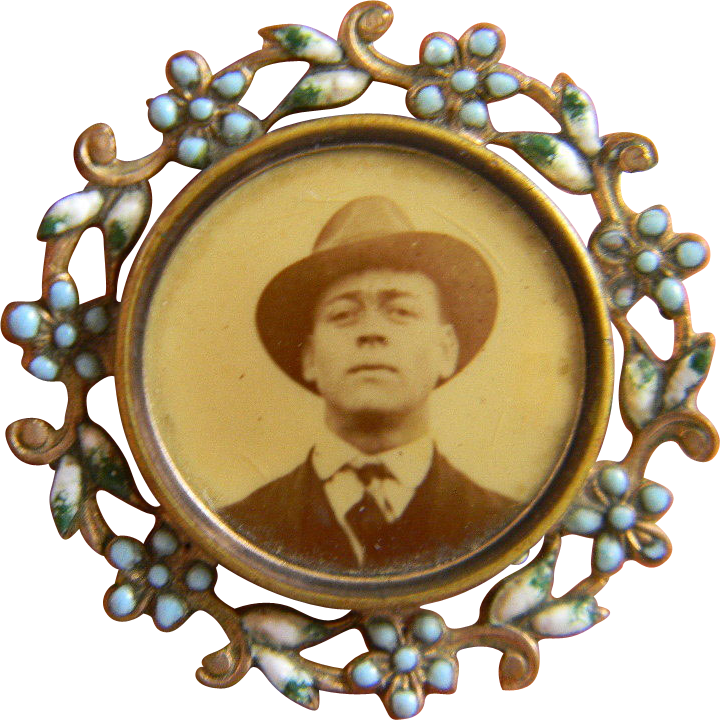 1920s celluloid photo brooch with enamel frame - Enamel Picture Frames
