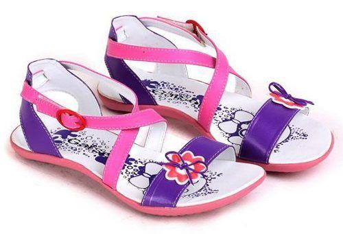 Sepatu Sandal Anak Perempuan Pink Ungu Motif Bunga Sepatu Sandal