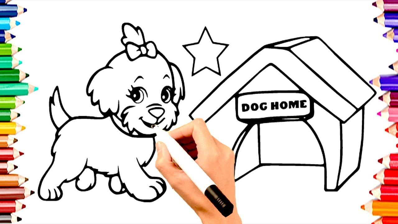 Teaching Children To Draw Dog Home Coloring Book Pages Learn Color Learning Colors Teaching Kids Coloring Book Pages