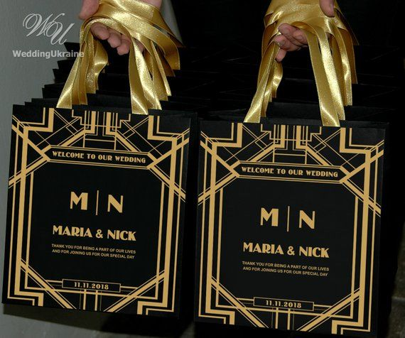 Nice Wedding Gift Ideas: 30 Gatsby Style Wedding Welcome Bags With Gold Satin
