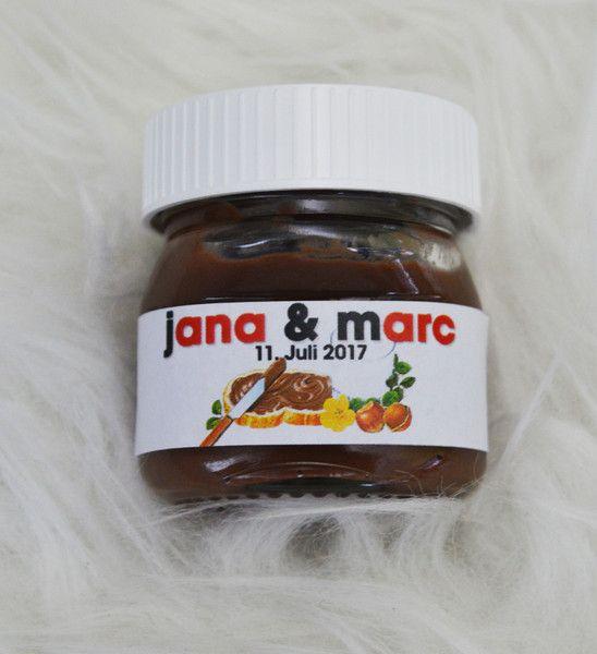Gastgeschenke 20x Nutella Etiketten Fur 25g Gastgeschenk Namen Ein Designerstuck Von Wedding Mouse Nutella Etikett Nutella Produkte Gastgeschenke Hochzeit