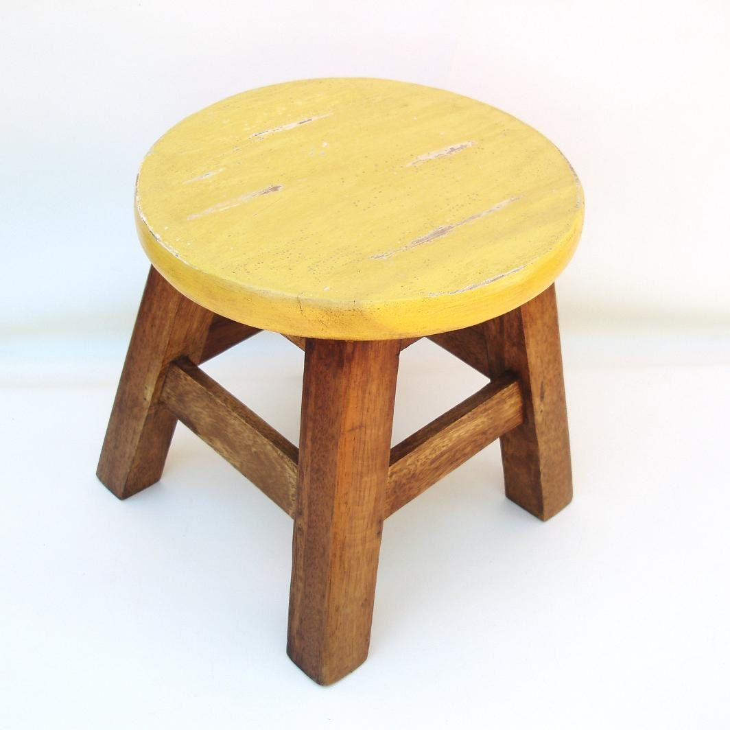 Wooden Step Stool Chair Banquet Covers Walmart Vintage Round Foot Bench Wood