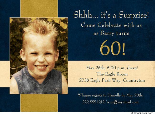 Navy Mans Surprise Invitation 60th Birthday Party Gold Event – Surprise 60th Birthday Party Invitation Wording