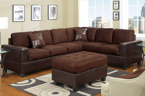 Sectional Sectionals Microfiber w Faux Leather Corner Sofa Loveseat ...