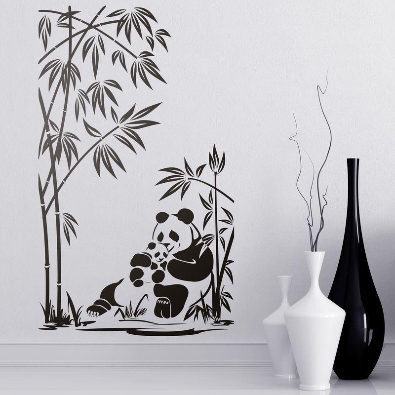 Osos panda y ca as de bamb vinilos decorativos panda - Cana bambu decoracion ...