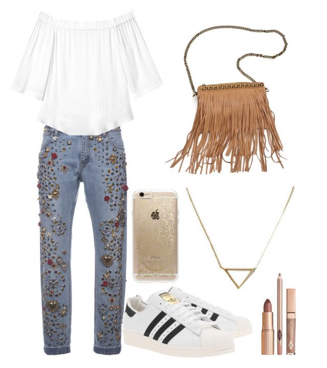 """""""Outfit N·6"""" by mariangelpolanco ❤ liked on Polyvore featuring Dolce&Gabbana, Rebecca Taylor, Rifle Paper Co, Banana Republic, adidas Originals and Patchington"""