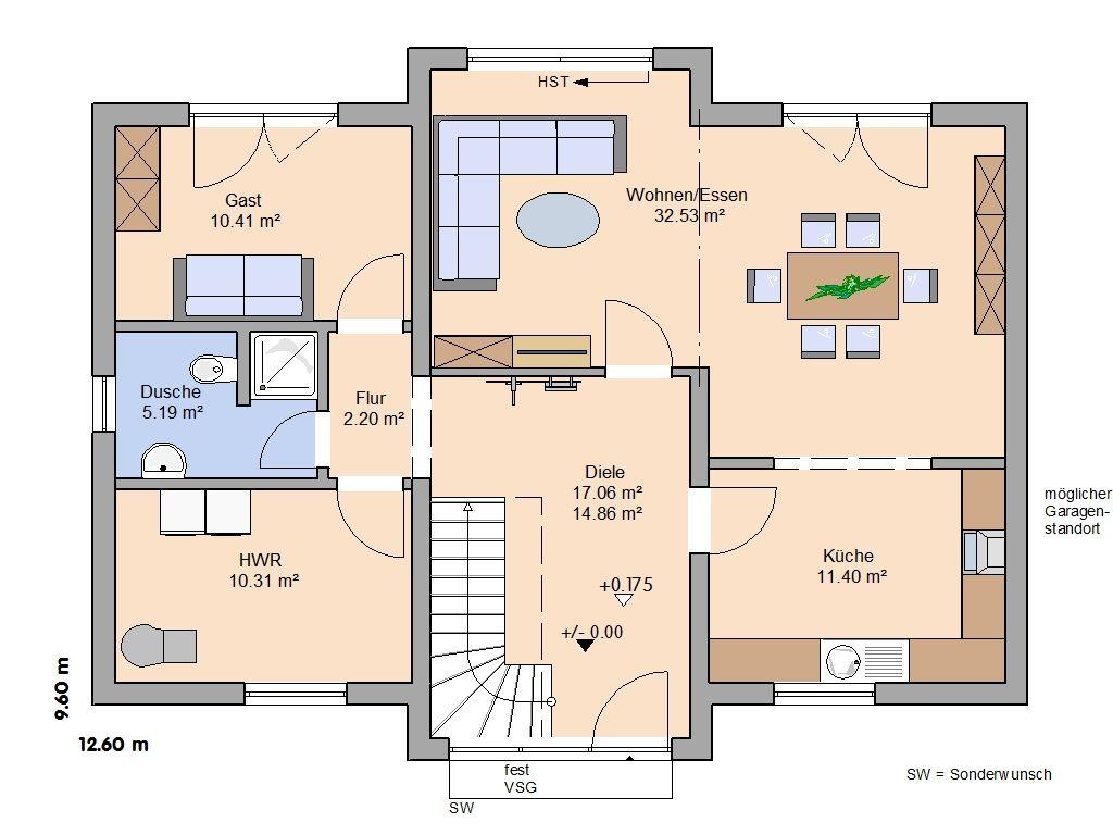 Massivhaus grundriss  Massivhaus Aura - Dachgeschoss | Grundriss | Pinterest ...
