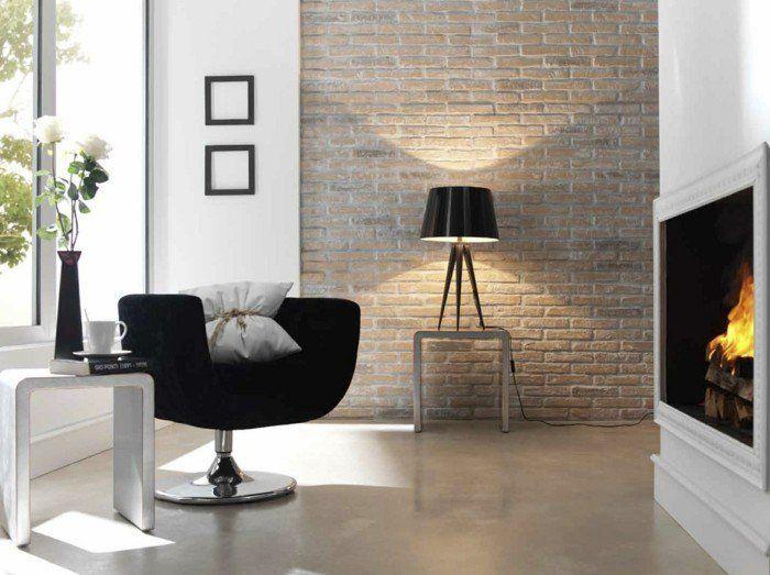 Ideen Fr Wandgestaltung Wohnzimmer Ziegelwand Kamin Schwarzer Sessel