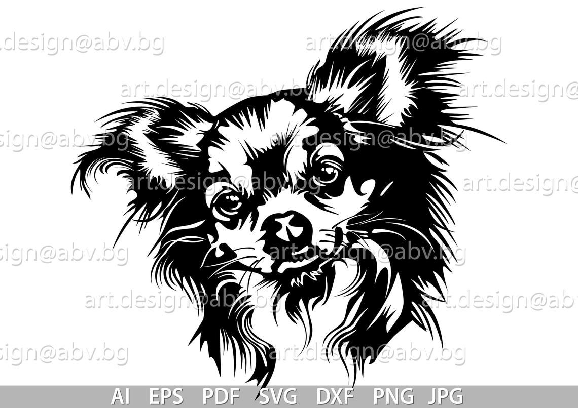 Vector Chihuahua Long Hair Dog Svg Ai Png Pdf Eps Dxf Jpg Download Digital Image Graphical Animal Discount Coupons Tier Schablone Illustrator Und Adobe Illustrator
